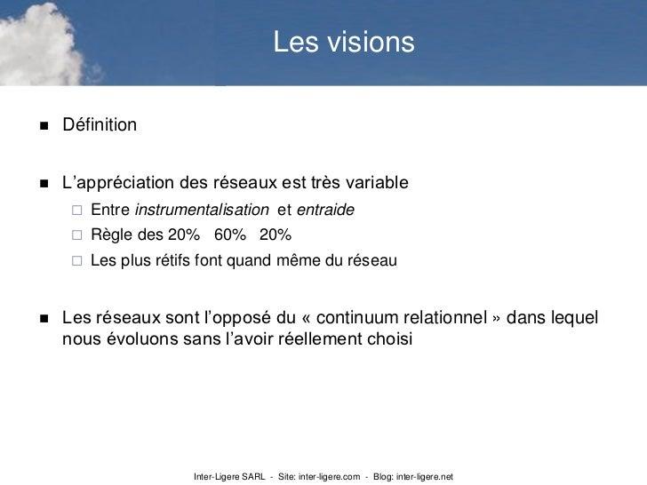 Les visions   Définition   L'appréciation des réseaux est très variable        Entre instrumentalisation et entraide   ...