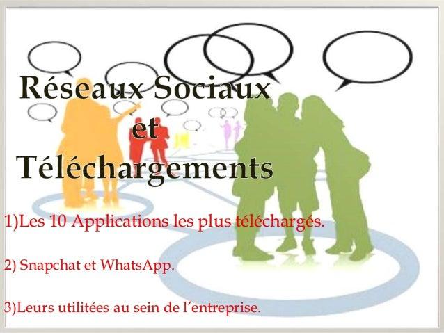 1)Les 10 Applications les plus téléchargés.  2) Snapchat et WhatsApp.  3)Leurs utilitées au sein de l'entreprise.