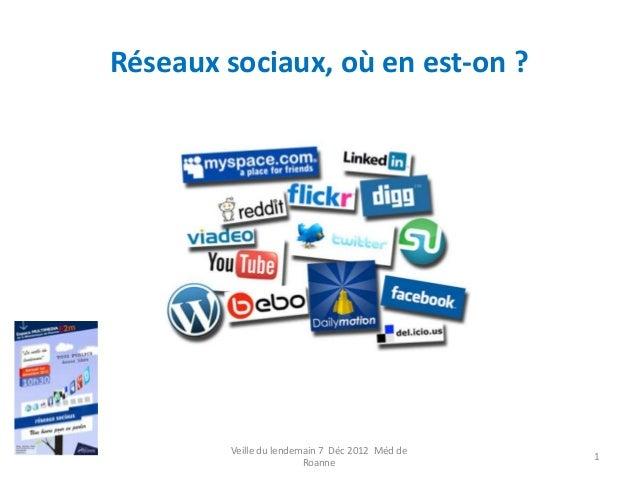 Réseaux sociaux, où en est-on ?        Veille du lendemain 7 Déc 2012 Méd de                                              ...