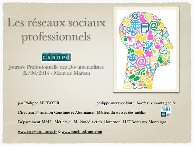 Les réseaux sociaux professionnels ! ! Journée Professionnelle des Documentalistes 02/06/2014 - Mont de Marsan par Philipp...