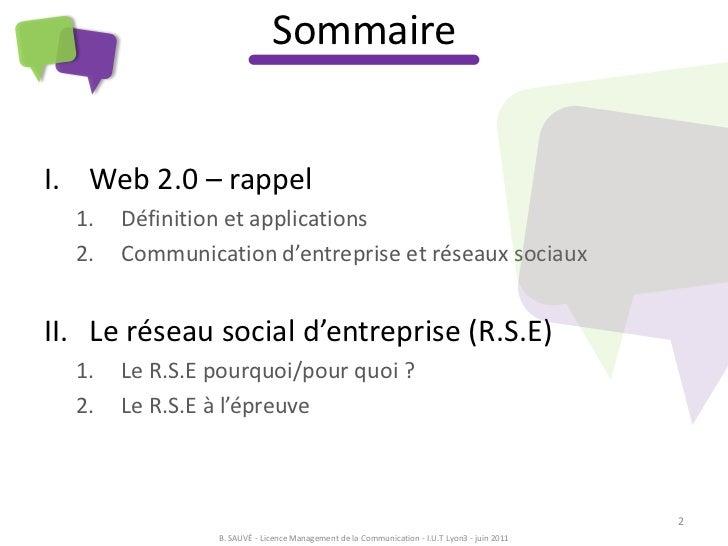 RSE - réseau social d'entreprise - soutenance de licence professionnelle Slide 2