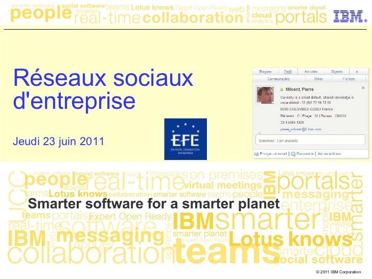 Réseaux sociauxdentrepriseJeudi 23 juin 2011                     © 2011 IBM Corporation