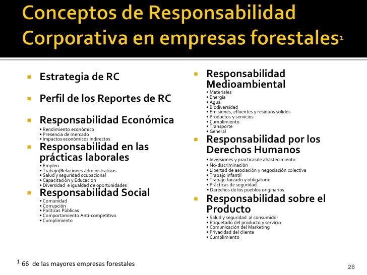 •   Las empresas forestales proactiva en RC se distinguen    principalmente por un desarrollado reporte de    sustentabili...