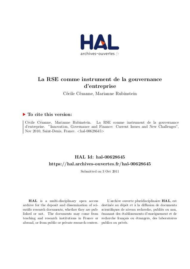 La RSE comme instrument de la gouvernance d'entreprise C´ecile C´ezanne, Marianne Rubinstein To cite this version: C´ecile...
