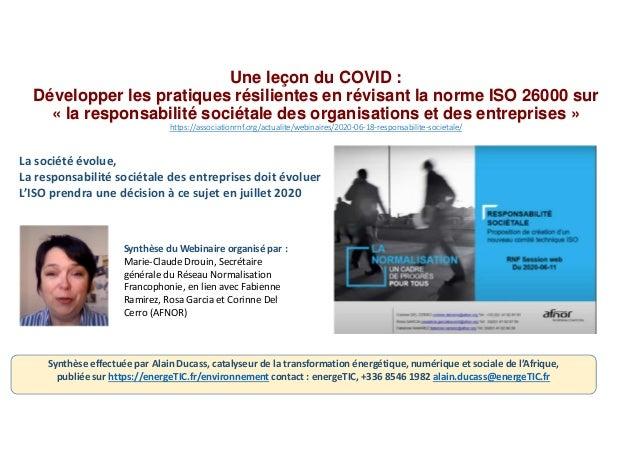 Une leçon du COVID : Développer les pratiques résilientes en révisant la norme ISO 26000 sur « la responsabilité sociétale...