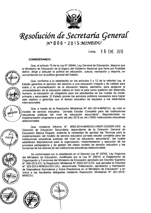 """'Wan mu,  p     Rgsofución ¿fe Secretaría Qenemf W7C 08 """" 20 l SMIÜVEQU  Lima.  15 ENE 2015  CONSIDERANDO:   Que,  el artí..."""