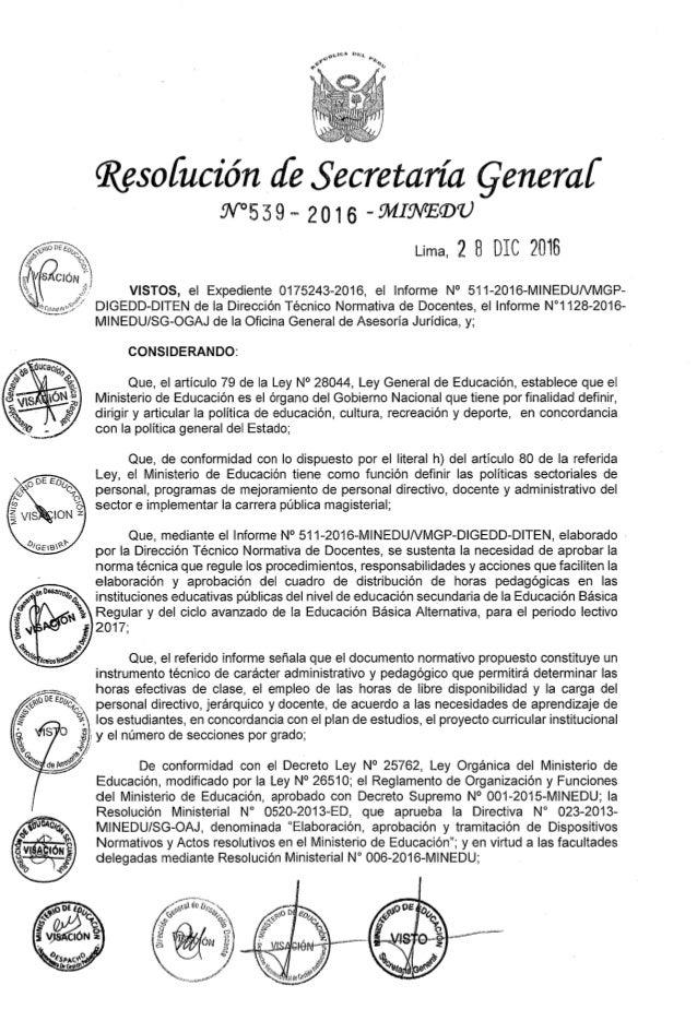 RSG.539-2016-MINEDU aprueba norma Técnica para elaboración del Cuadro de Horas 2017
