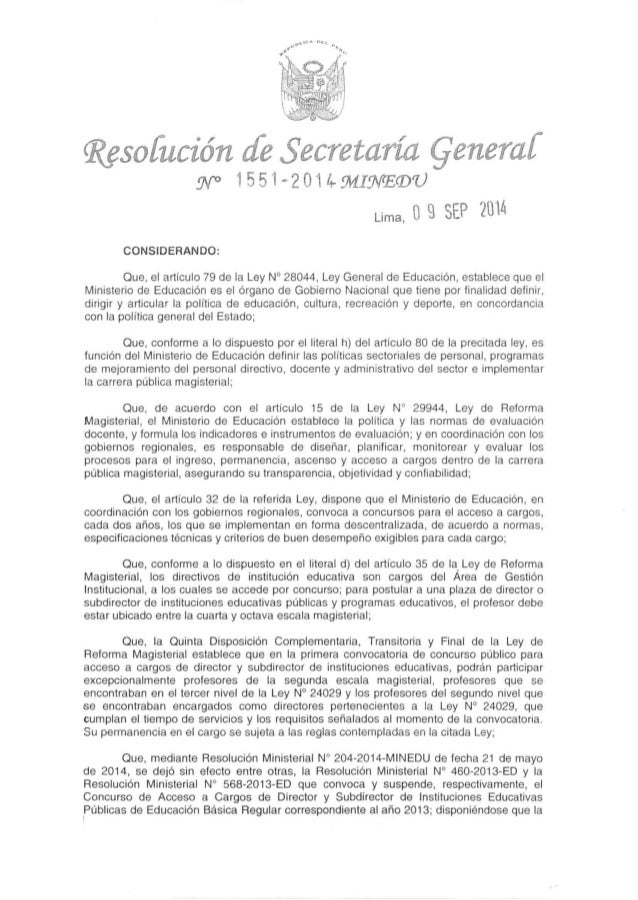 NORMAS PARA EL CONCURSO PÚBLICO DE ACCESO A CARGOS DE DIRECTOR Y SUBDIRECTOR DE INSTITUCIONES  EDUCATIVAS PÚBLICAS 2014  N...