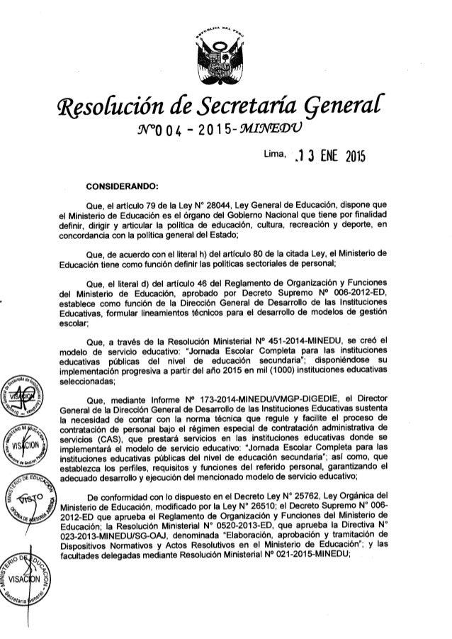 """.. na mu _  c** o o.  b           Resofución Je Secretaría Çeneraí .7V""""°0 04 ' 201 S-MIQVEQDU  una . l 3 ENE 2015  CONSIDE..."""