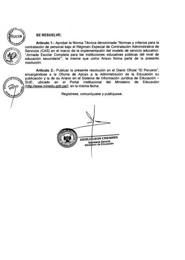 Rsg 004 2015-minedu norma para contrato cas de docentes en jec-directiva Slide 2