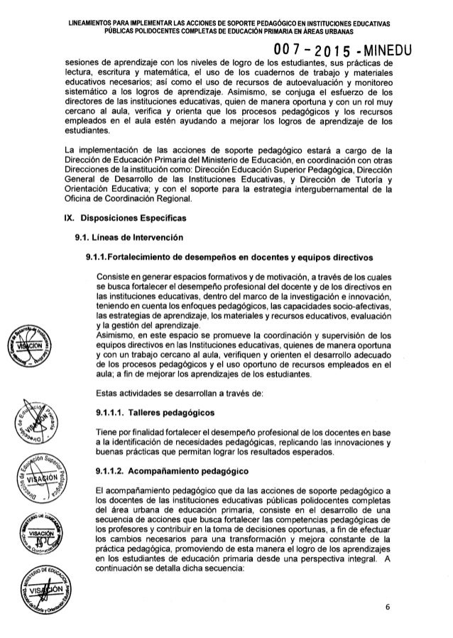 Rsg n° 007 2015-minedu lineamientos para implementar las
