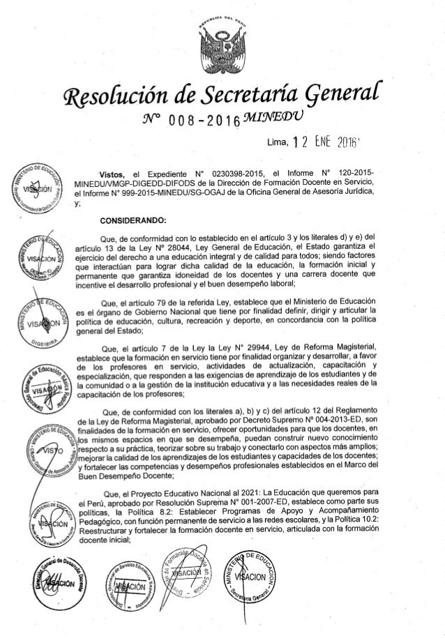 "Resofución ¿{e Secretaría Qenercd   W° 008—20i69""1IW'E®U  Lima» i 2 ENE 2?""  i  l l  23""»  Vistos,  el Expediente N° 02303..."