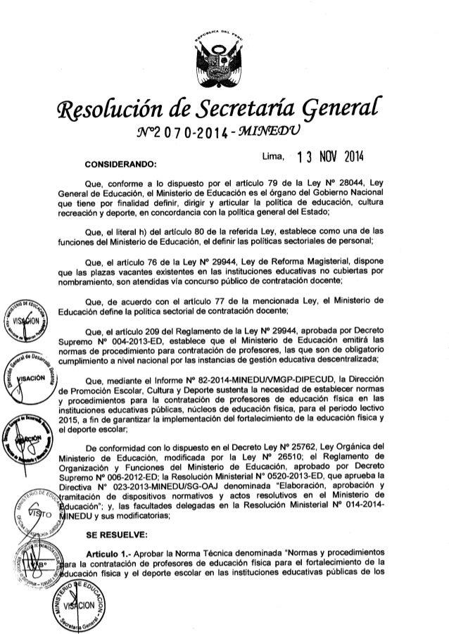 RESOLUCIÓN DE SECRETARIA GENERALRsg n° 2070 2014-minedu