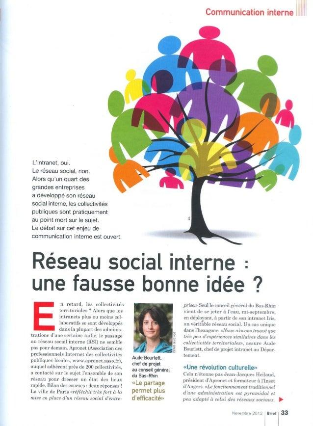 Réseau social interne : une fausse bonne idée ? - Brief - novembre 2012