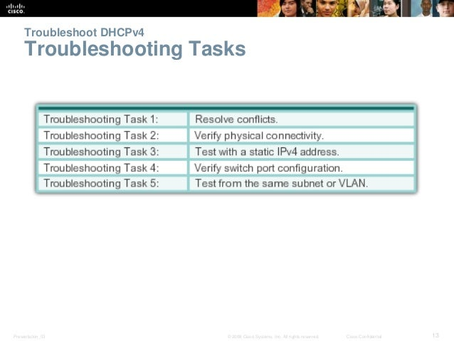 Troubleshoot DHCPv4  Troubleshooting Tasks  Presentation_ID © 2008 Cisco Systems, Inc. All rights reserved. Cisco Confiden...