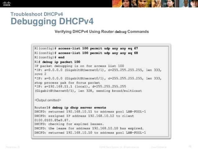 Troubleshoot DHCPv4  Debugging DHCPv4  Presentation_ID © 2008 Cisco Systems, Inc. All rights reserved. Cisco Confidential ...