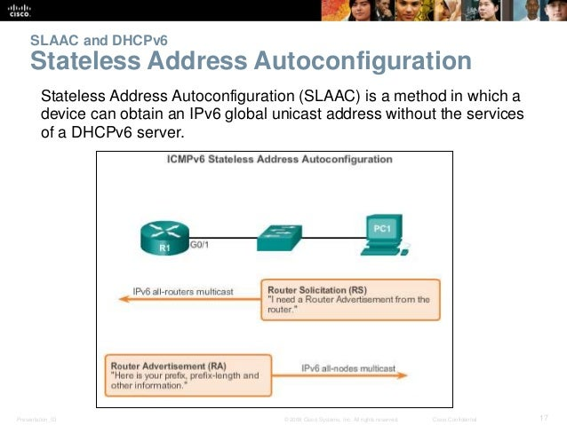 SLAAC and DHCPv6  Stateless Address Autoconfiguration  Stateless Address Autoconfiguration (SLAAC) is a method in which a ...