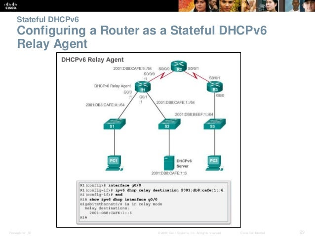 Stateful DHCPv6  Configuring a Router as a Stateful DHCPv6  Relay Agent  Presentation_ID © 2008 Cisco Systems, Inc. All ri...