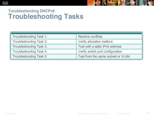 Troubleshooting DHCPv6  Troubleshooting Tasks  Presentation_ID © 2008 Cisco Systems, Inc. All rights reserved. Cisco Confi...