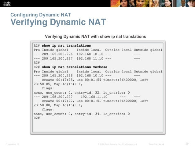 Configuring Dynamic NAT  Verifying Dynamic NAT  Presentation_ID © 2008 Cisco Systems, Inc. All rights reserved. Cisco Conf...