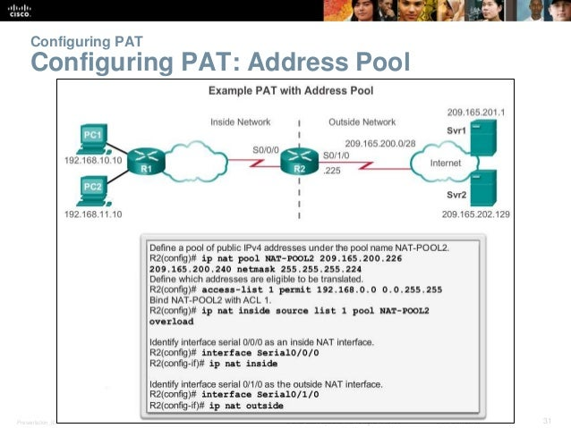 Configuring PAT  Configuring PAT: Address Pool  Presentation_ID © 2008 Cisco Systems, Inc. All rights reserved. Cisco Conf...