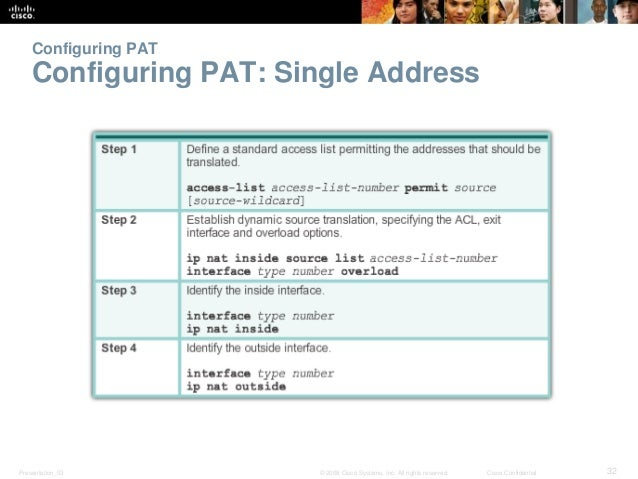Configuring PAT  Configuring PAT: Single Address  Presentation_ID © 2008 Cisco Systems, Inc. All rights reserved. Cisco Co...