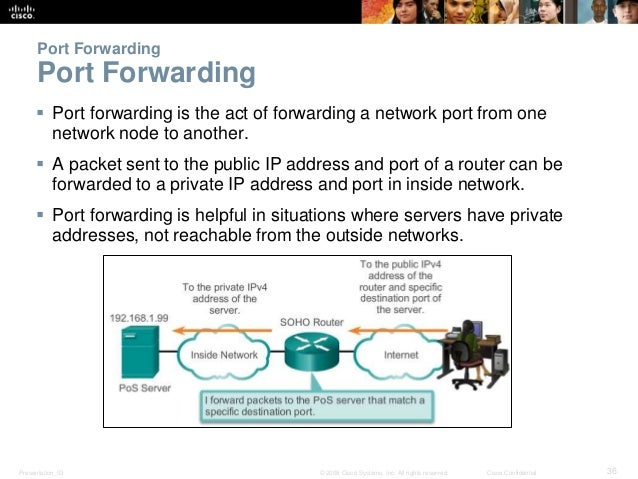 Port Forwarding  Port Forwarding   Port forwarding is the act of forwarding a network port from one  network node to anot...
