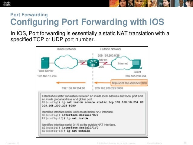 Port Forwarding  Configuring Port Forwarding with IOS  In IOS, Port forwarding is essentially a static NAT translation wit...