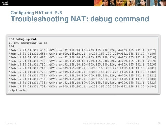 Configuring NAT and IPv6  Troubleshooting NAT: debug command  Presentation_ID © 2008 Cisco Systems, Inc. All rights reserv...