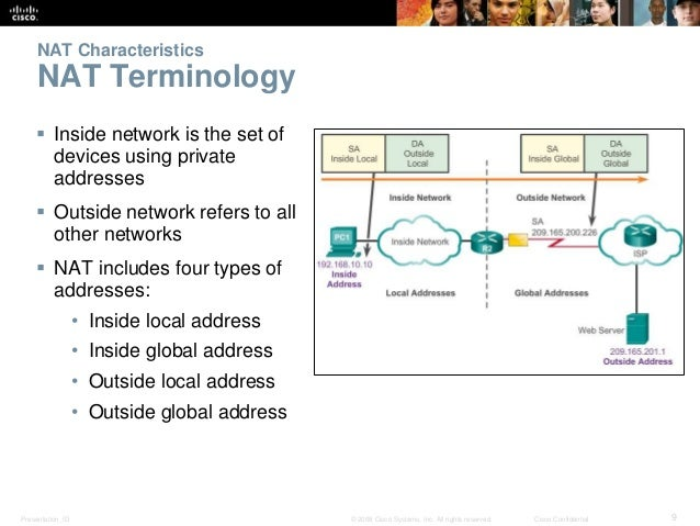 NAT Characteristics  NAT Terminology   Inside network is the set of  devices using private  addresses   Outside network ...