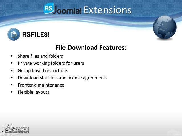 Extensions File Download Features: • Share files and folders • Private working folders for users • Group based restriction...