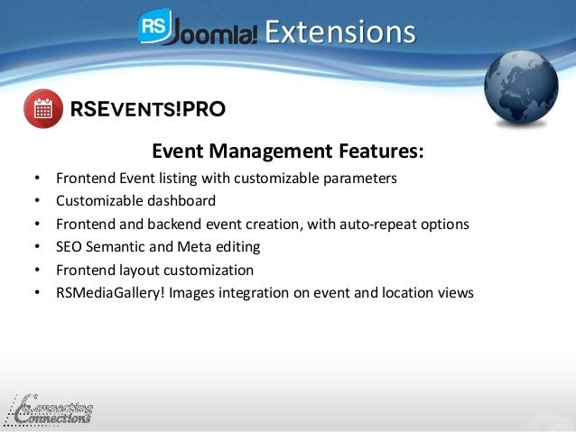 Extensions Event Management Features: • Frontend Event listing with customizable parameters • Customizable dashboard • Fro...