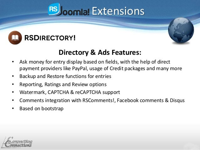 Extensions Directory & Ads Features: • Ask money for entry display based on fields, with the help of direct payment provid...