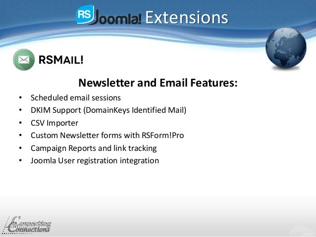 Extensions Newsletter and Email Features: • Scheduled email sessions • DKIM Support (DomainKeys Identified Mail) • CSV Imp...