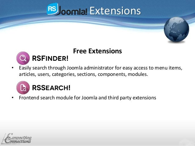Extensions Free Extensions • Easily search through Joomla administrator for easy access to menu items, articles, users, ca...
