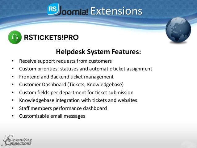 Extensions Helpdesk System Features: • Receive support requests from customers • Custom priorities, statuses and automatic...