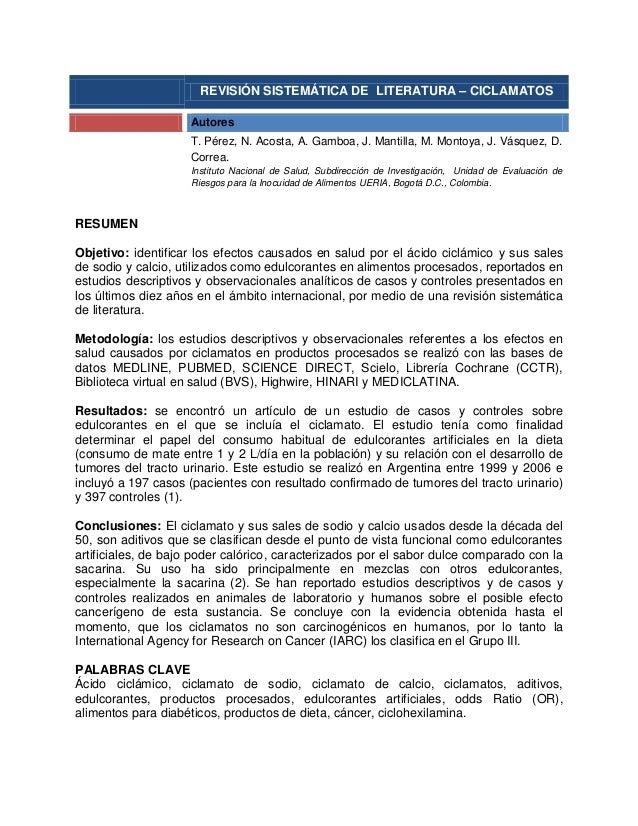 REVISIÓN SISTEMÁTICA DE LITERATURA – CICLAMATOS                    Autores                    T. Pérez, N. Acosta, A. Gamb...