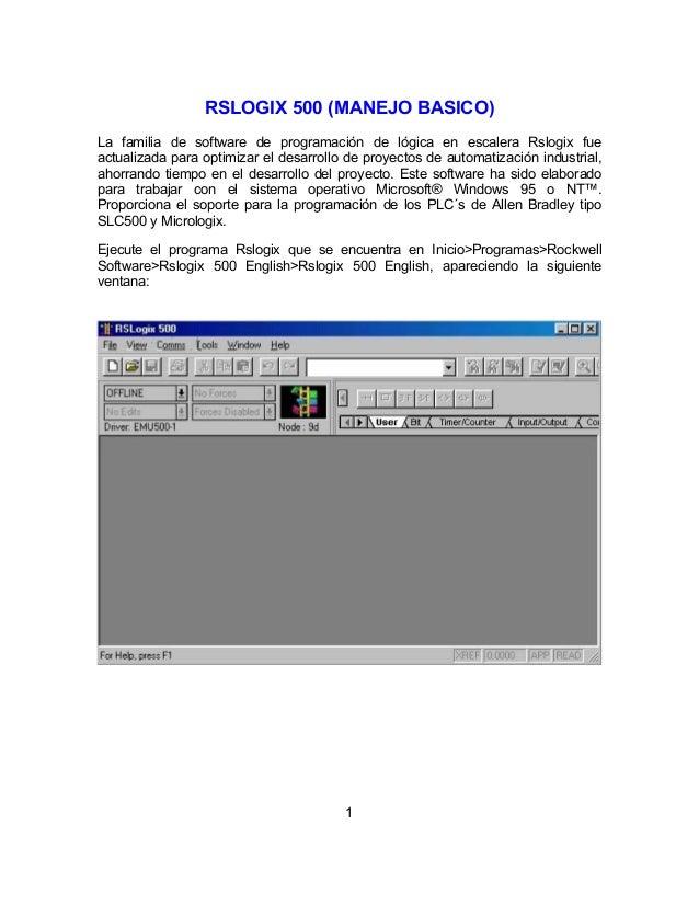 1 RSLOGIX 500 (MANEJO BASICO) La familia de software de programación de lógica en escalera Rslogix fue actualizada para op...
