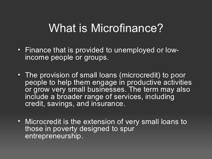 Loans With Poor Credit >> Presentation on Microfinance