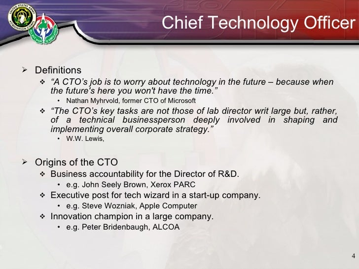 Chief Technology Officer ...