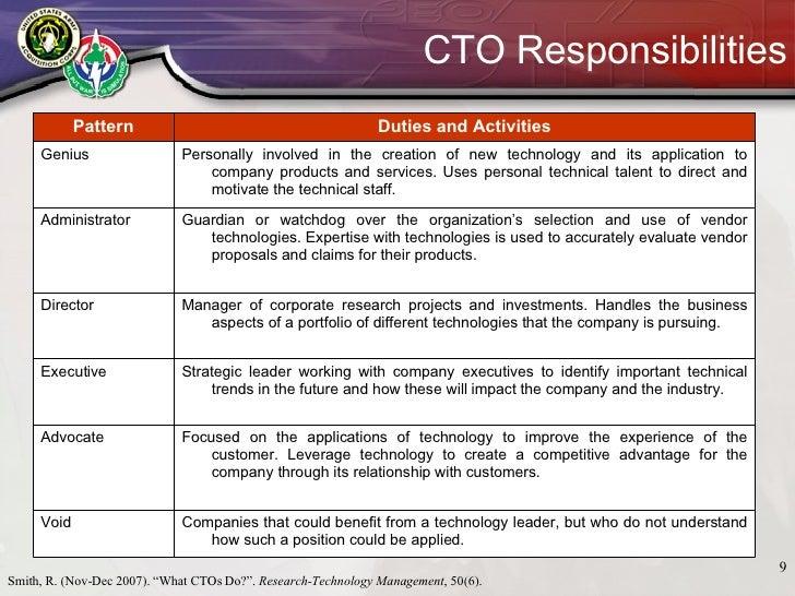 CTO Responsibilities Smith ...