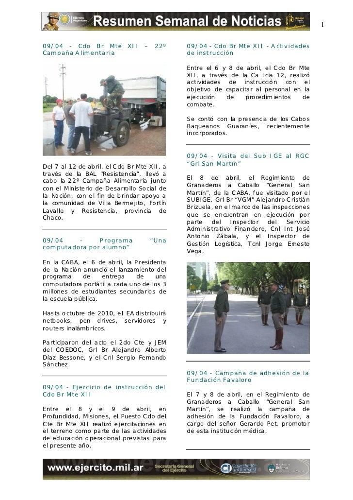 1  09/04 - Cdo Br Mte XII              – 22º      09/04 - Cdo Br Mte XII - A ctividades Campaña A limentaria              ...