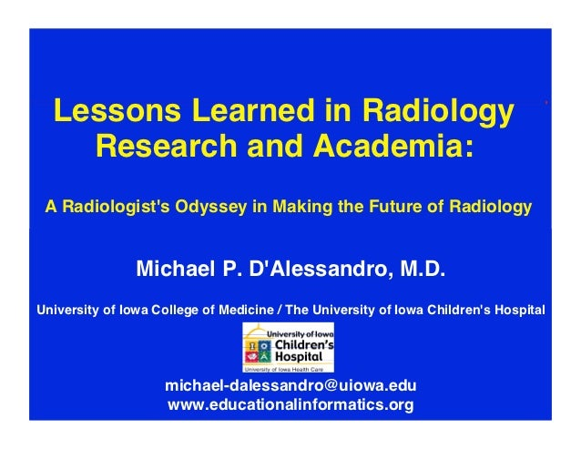 """Lessons Learned in Radiology    Research and Academia:                                                          """" A Radio..."""