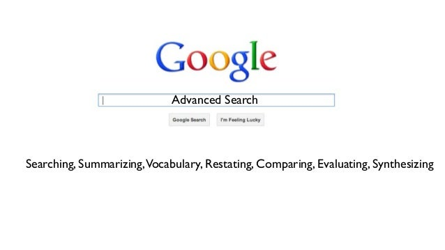 Advanced Search  Searching, Summarizing,Vocabulary, Restating, Comparing, Evaluating, Synthesizing