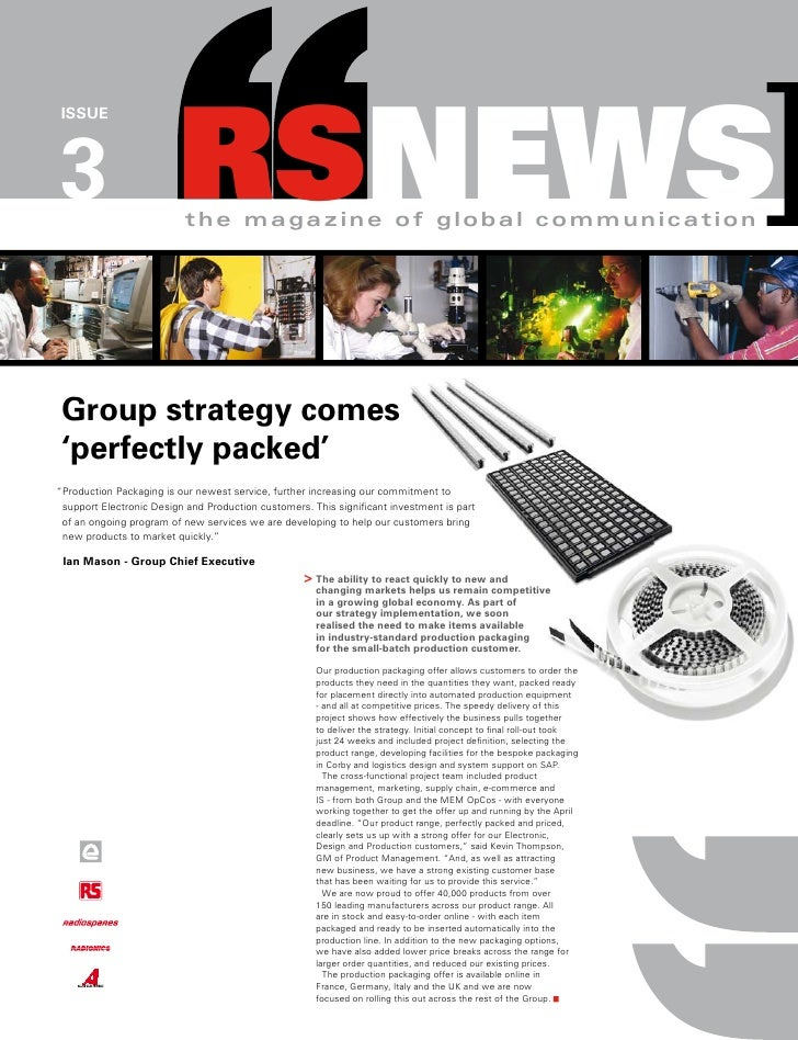 RSNEWS] ISSUE     3                          the magazine of global communication      Group strategy comes  'perfectly pa...
