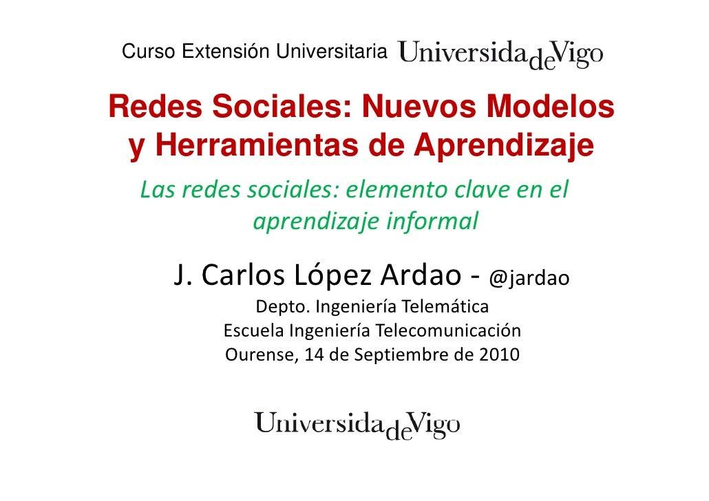 Curso Extensión Universitaria  Redes Sociales: Nuevos Modelos  yH   Herramientas de Aprendizaje          i t d A        di...