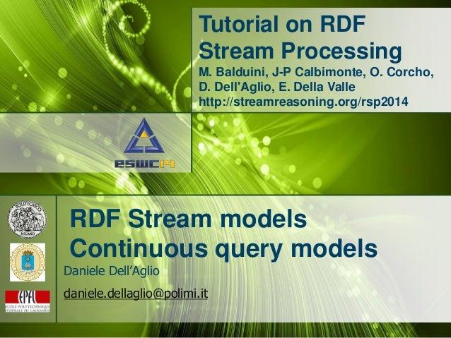 Tutorial on RDF Stream Processing M. Balduini, J-P Calbimonte, O. Corcho, D. Dell'Aglio, E. Della Valle http://streamreaso...
