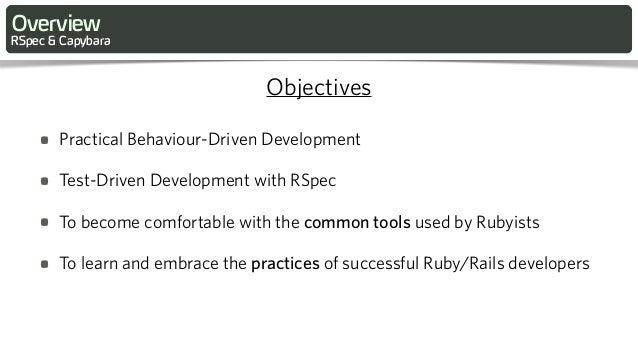 Rspec and Capybara Intro Tutorial at RailsConf 2013 Slide 3