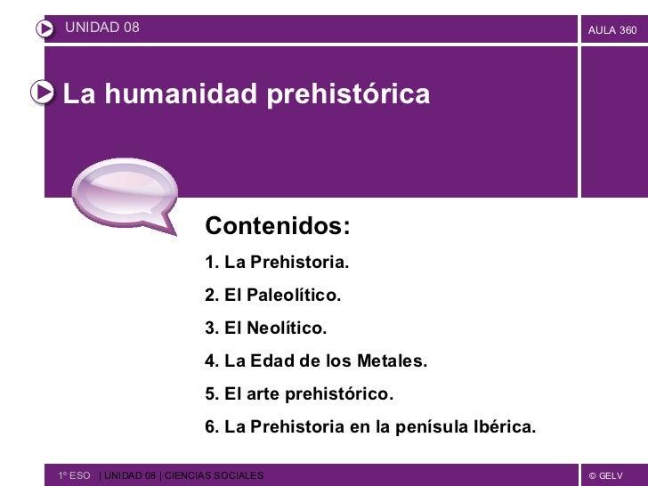 La humanidad prehistórica Contenidos: 1. La Prehistoria. 2. El Paleolítico. 3. El Neolítico. 4. La Edad de los Metales. 5....
