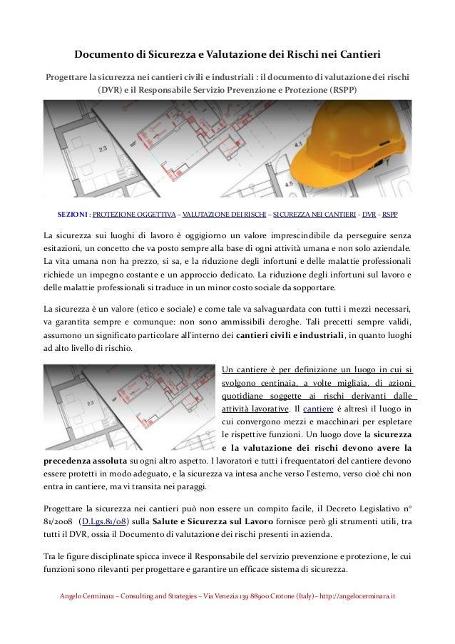 Documento di Sicurezza e Valutazione dei Rischi nei Cantieri Progettare la  sicurezza nei cantieri civili e ... 633c982d5d8